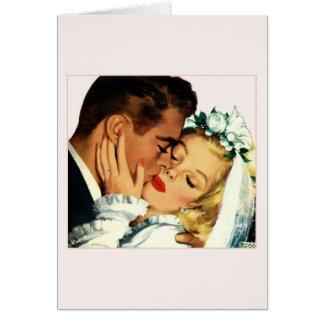 Vintage Bride and Groom Tender Kiss Note Card