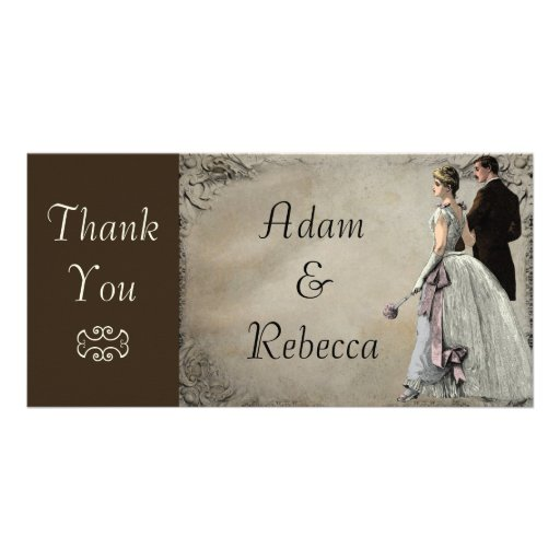 Vintage Bride and Groom Wedding Thank You Customized Photo Card