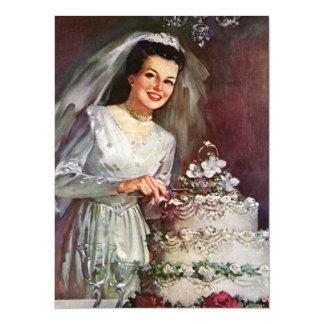 "Vintage Bride and Her Wedding Cake 5.5"" X 7.5"" Invitation Card"