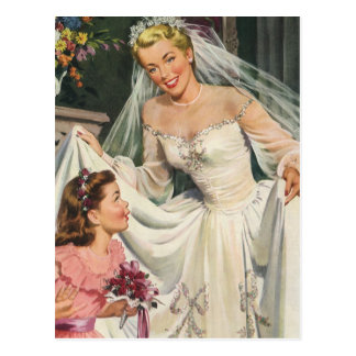 Vintage Bride with Flower Girl on Her Wedding Day Postcard