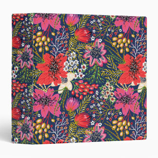 Vintage Bright Floral Pattern Fabric 3 Ring Binder