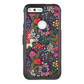 Vintage Bright Floral Pattern Fabric OtterBox Commuter Google Pixel Case