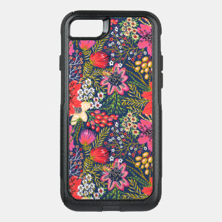 Vintage Bright Floral Pattern Fabric OtterBox Commuter iPhone 8/7 Case