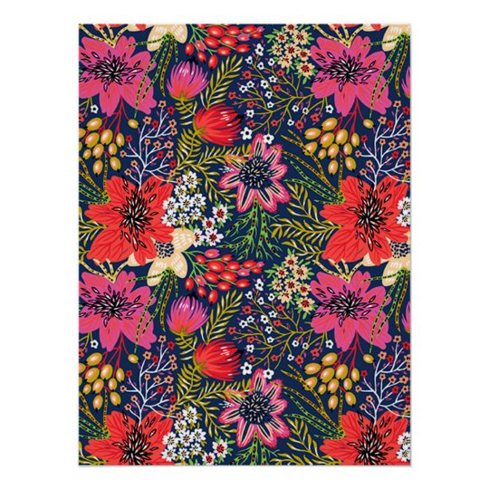 Vintage Bright Floral Pattern Fabric Poster