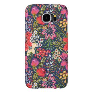 Vintage Bright Floral Pattern Fabric Samsung Galaxy S6 Case
