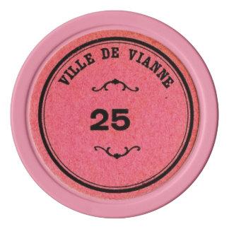 Vintage Bright Pink Color 25 Poker Value Set Of Poker Chips