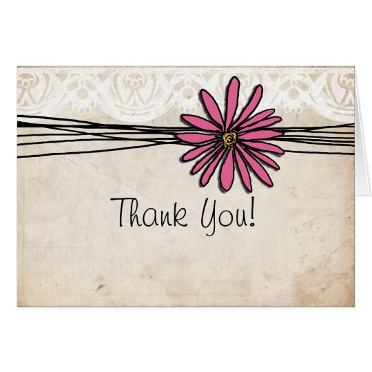 Vintage Bright Pink Daisy Thank You Card