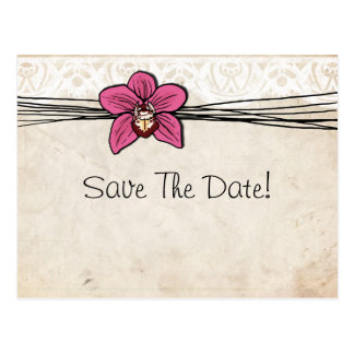 Vintage Bright Pink Orchid Save The Date Post Card