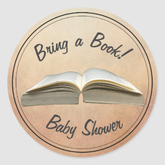 Vintage Bring a Book Baby Shower Classic Round Sticker