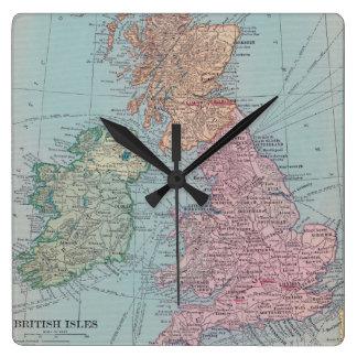 Vintage Britain Map Clock