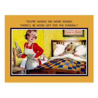 Vintage British humour, no more whisky Postcard