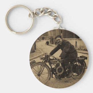 Vintage British Motorcycle  Early 1900s Basic Round Button Keychain