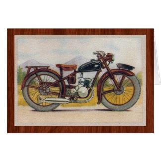 Vintage Bronze Motorcycle Print Card