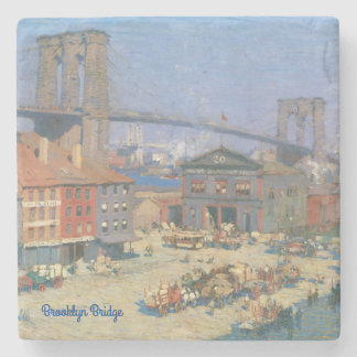 Vintage Brooklyn Bridge Marble Stone Coaster