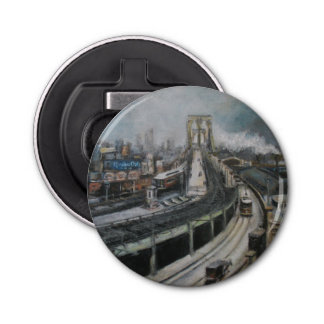 Vintage Brooklyn Bridge New York City cityscape Button Bottle Opener