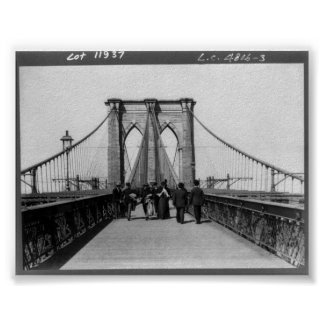 Vintage Brooklyn Bridge New York City NY 1898 Poster