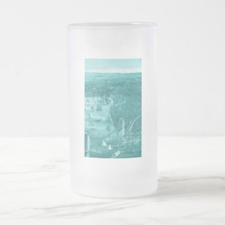 Vintage Brooklyn Map Frosted Glass Mug in Aqua