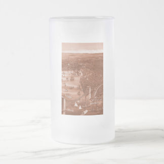 Vintage Brooklyn Map Frosted Glass Mug in Orange