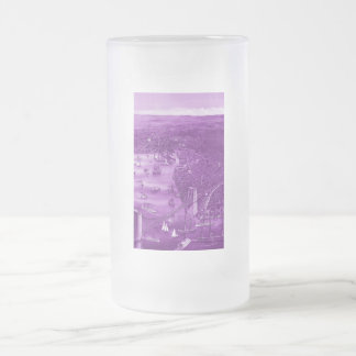 Vintage Brooklyn Map Frosted Glass Mug in Purple