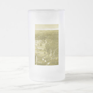 Vintage Brooklyn Map Frosted Glass Mug in Yellow