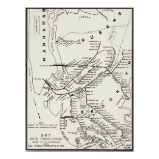 Vintage Brooklyn NY Transit System Map (1912) Poster