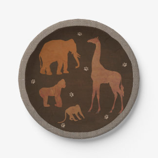 Vintage Brown African Safari Jungle Zoo Animals Paper Plate