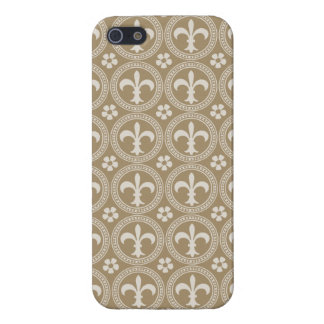 Vintage Brown And White Fleur Delis iPhone 5 Cases