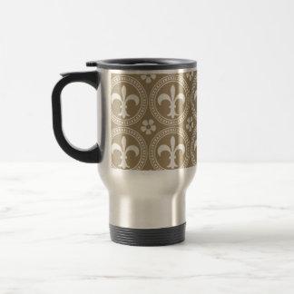 Vintage Brown And White Fleur Delis Travel Mug