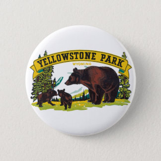 Vintage Brown Bears in Yellowstone National Park 2 Inch Round Button