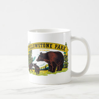 Vintage Brown Bears in Yellowstone National Park Coffee Mug