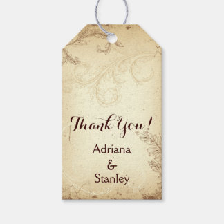 Vintage brown, beige scroll leaf wedding Thank You Gift Tags