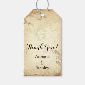 Vintage brown, beige scroll leaf wedding Thank You Pack Of Gift Tags