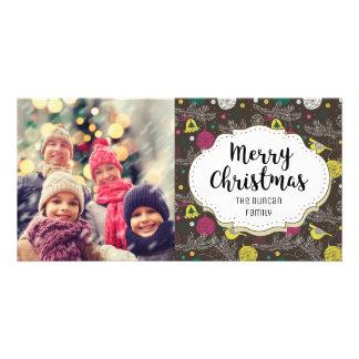 Vintage Brown Birds Ornaments Christmas Photo Card
