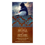 Vintage Brown & Blue Damask Lace Save the Date Photo Greeting Card