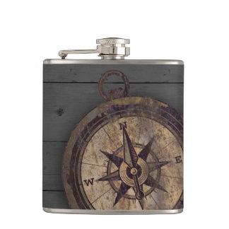 Vintage Brown Compass Hip Flask