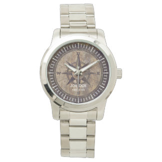 Vintage Brown Compass Watch
