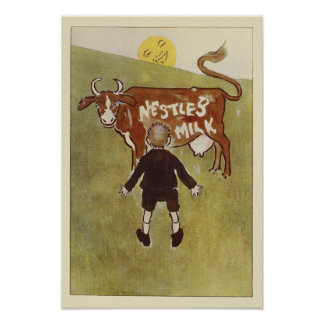 Vintage Brown Cow Nestle's Milk Poster