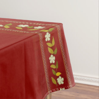Vintage Brown Embroidery Flowers Tablecloth