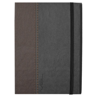 "Vintage Brown & Gray Stitched Leather iPad Pro 12.9"" Case"