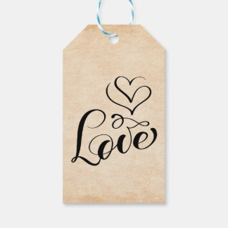 Vintage  Brown Grunge Love Hearts Wedding, Bridal Gift Tags