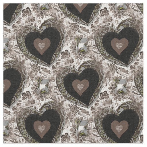 Vintage Brown Heart Design Fabric