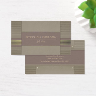 Vintage brown leather and gold business card