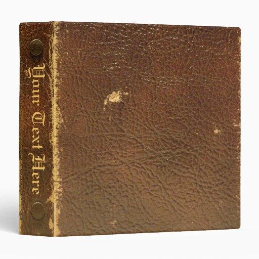 Vintage Brown Leather faux Binders