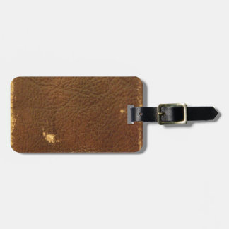 Vintage Brown Leather faux Luggage Tag