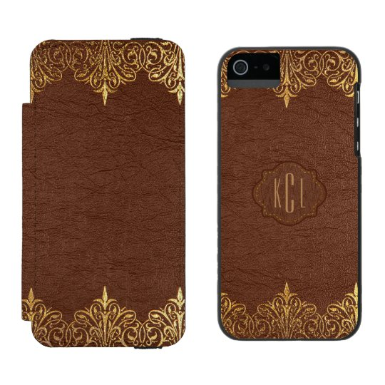 Vintage Brown Leather & Floral Gold Lace Frame Incipio Watson™ iPhone 5 Wallet Case