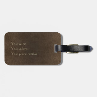 vintage brown leather look luggage tag