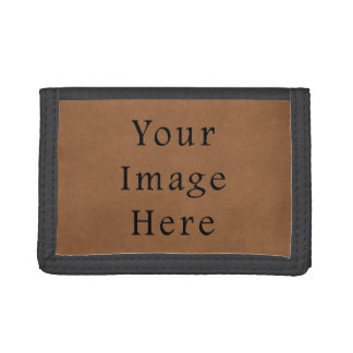 Vintage Brown Leather Parchment Paper Background Trifold Wallet