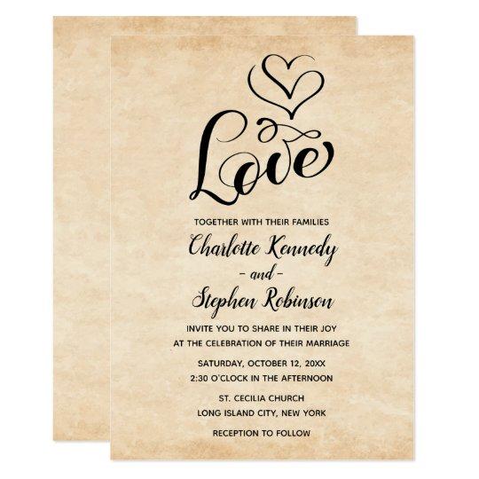 Vintage Brown Love Heart Distressed Grunge Wedding Card