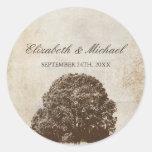 Vintage Brown Oak Tree Fall Wedding Favour Label Sticker