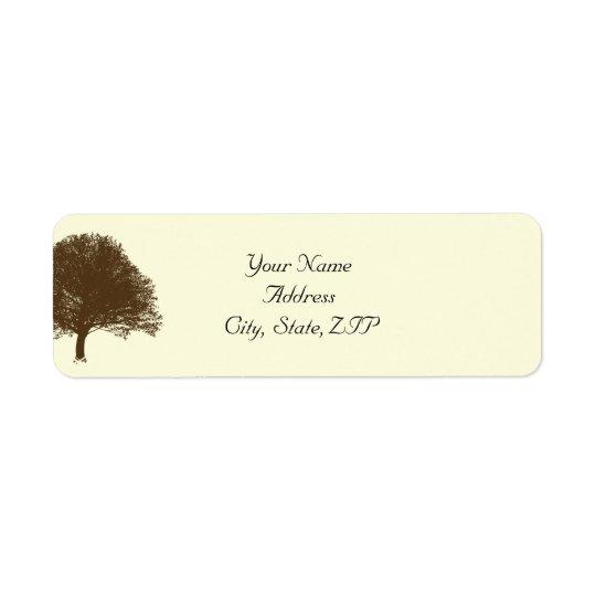 Vintage Brown Oak Tree on Cream Return Address